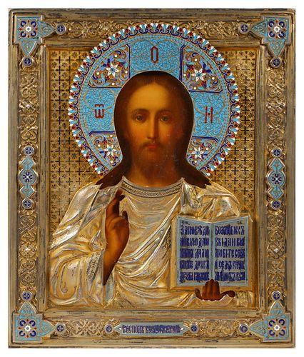 19c Russian Icon, Christ Pantokrator