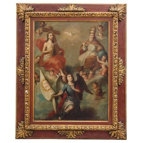 """JOSÉ DE PÁEZ (MÉXICO, 1727 - 1780), LA SANTÍSIMA TRINIDAD (CON SAN MIGUEL ARCÁNGEL), Signed Jph. de Paez fecit en Mexico, 32.6 x 24.2"""" (83 x 61.5 cm)"""