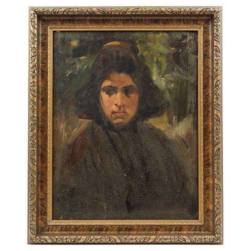 "GERMÁN GEDOVIUS (MÉXICO, 1867 - 1937), RETRATO DE DAMA, Oil on canvas, signed, 23.4 x 18.1"" (59.5 x 46 cm)"