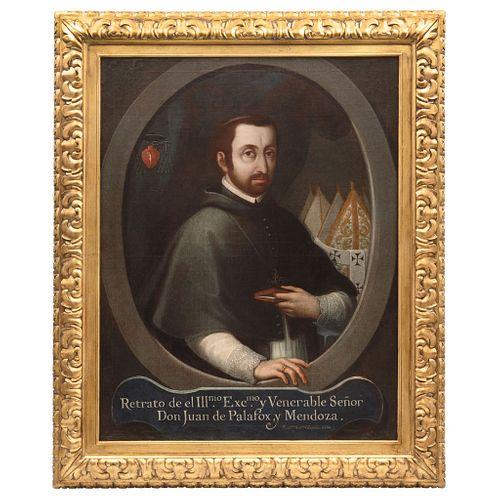 """FRANCISCO ANTONIO VALLEJO (MÉXICO, 1722-1785), RETRATO DE JUAN DE PALAFOX Y MENDOZA, Oil on canvas, Signed and dated 1765, 37.7 x 29.5"""" (96x75 cm)"""