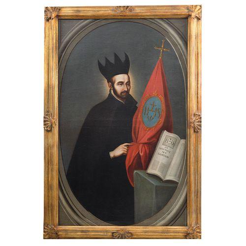 """FRANCISCO ANTONIO VALLEJO (MÉXICO, 1722-1785), SAN IGNACIO DE LOYOLA, Oil on canvas, Signed, 62.2 x 38.5"""" (158 x 98 cm)"""