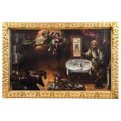 "APARICIÓN DE SAN NICOLÁS DE BARI, MÉXICO, 17th century, Oil on canvas, Conservation and intervention details, 28.3 x 46.8"" (72 x 119 cm)"