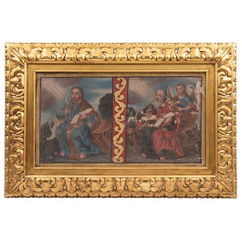 """SAN JUAN EVANGELISTA Y SAN LUCAS, MÉXICO, 18th century, Oil on canvas, Conservation details, 14.1 x 25.9"""" (36 x 66 cm)"""