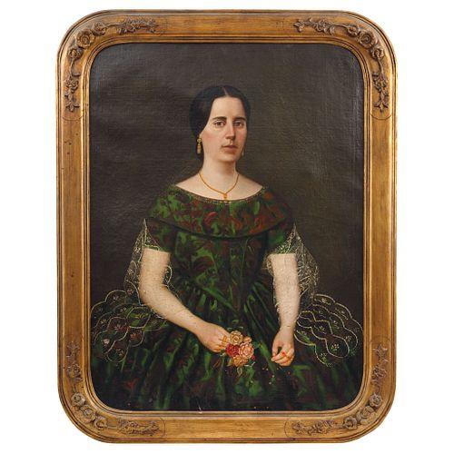 "ATTRIBUTED TO JUAN CORDERO (MÉXICO, 1824 - 1884), RETRATO DE DAMA, Oil on canvas, 39.3 x 29.1"" (100 x 74 cm)"