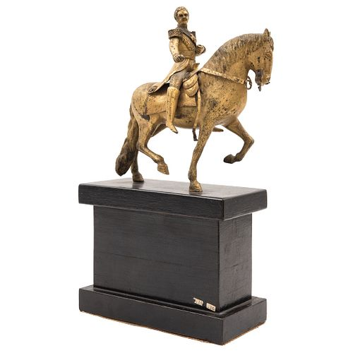 """AGUSTÍN DE ITURBIDE, MÉXICO, 19th century, Cast bronze with wooden base, Decorated with Imperial eagles, 6.6"""" (17 cm)"""