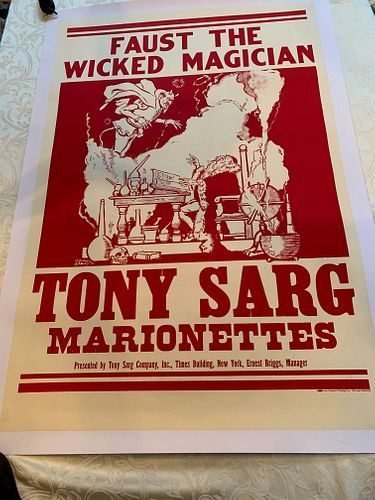 FAUST THE MAGICIAN, TONY SAG MARIONETTES POSTER