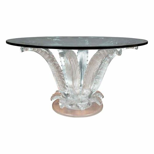 Lalique Clear & Frosted Glass Cactus Center Table