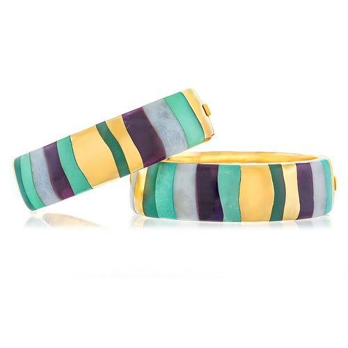 Spectacular Pair of Angela Cummings for Tiffany Pop-Art Inlaid Stone Bangles