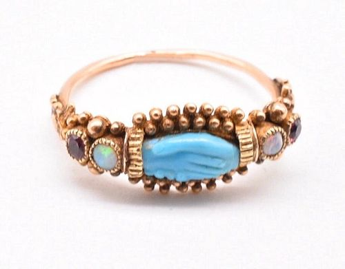 C1820  HAND RING WITH TURQUOISE GARNETS AND OPALS
