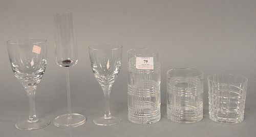 Fifty-nine piece group of stemmed glasses and tumblers, makers to include Ralph Lauren, Atlantis, Tiffany & Co., and Salviati, 9-1/2 high (tallest).