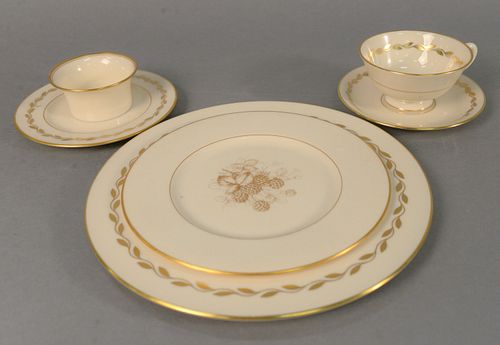 Group of Lenox, plates, cups and saucers in various patterns, approximately 100 pieces, each marked to the underside.