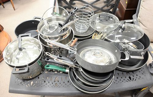 Large lot of pots and pans to include T-Fal, stainless, etc.