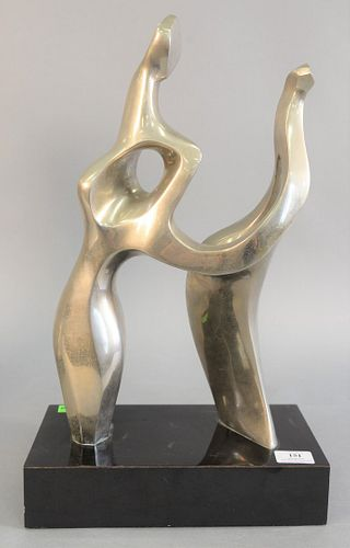 """Seymour Meyer (American, 1914-2004), two figure Mid-century sculpture, bronze, signed and numbered '4/9' on the underside, 20 1/4"""" x 12"""" x 6 1/8""""."""