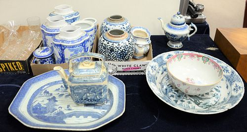 Group of blue and white Chinese porcelain to include a charger, five ginger jars, canton platter, Chinese Export bowl along with a blue and white teap