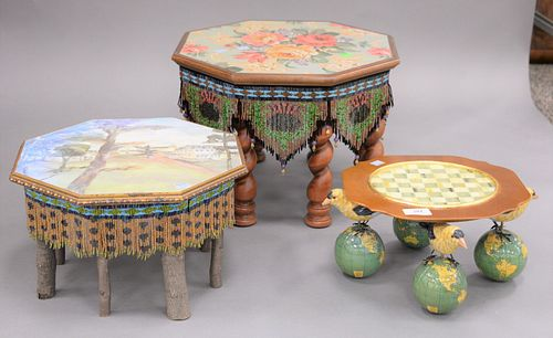 "Two small Mackenzie Childs tables along with one Mackenzie Childs platter, 11 1/2"" x 16 1/2"" ranging to 11 1/2"" x 6""."