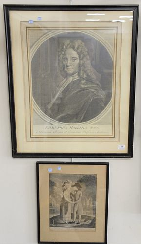 """Group of three framed prints, John Duke of Argyle & Greenwich, etching, Willy & Dale, collotype, Edmundus Halleius, engraving, all unsigned, 22"""" x 16-"""
