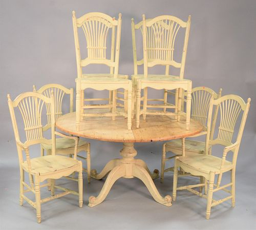 "Nine piece kitchen table set, large pine round pedestal table with two leaves along with six chairs with spindle backs, 30"" high, 60"" dia. (table), al"