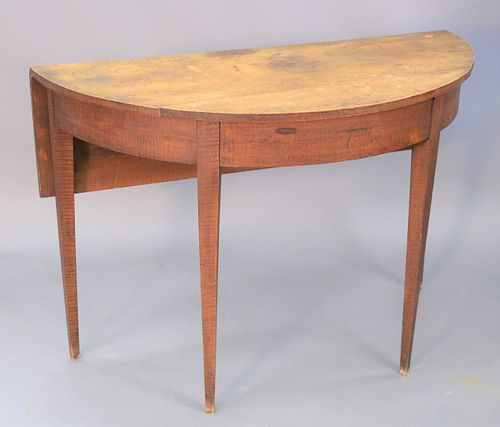 """Four piece lot to include, two tables, Federal one drawer stand along with Federal demilune tiger maple table with 1 drop leaf, 29"""" high (each), along"""