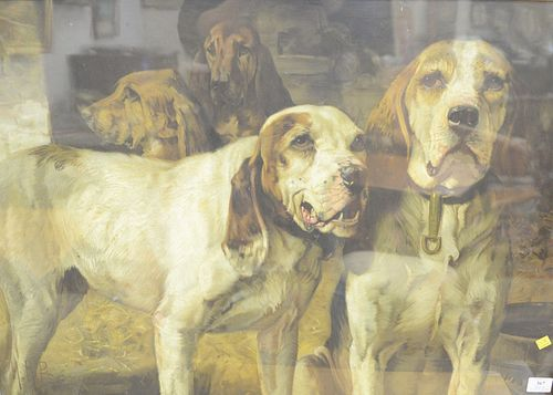 "Henry R. Poore (American, 1859-1940), ""Bear Dogs"", early Winchester advertisement of two hunting dogs, lithograph, 25"" x 35""."