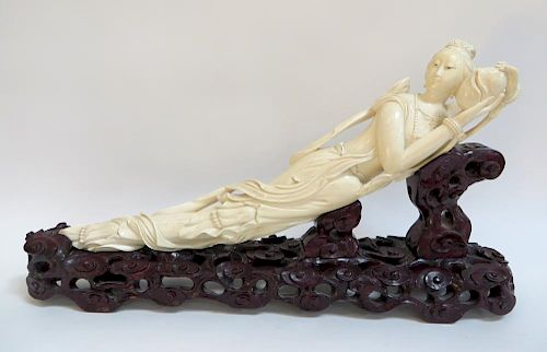 Antique Chinese Qing Carved Ivory Tusk