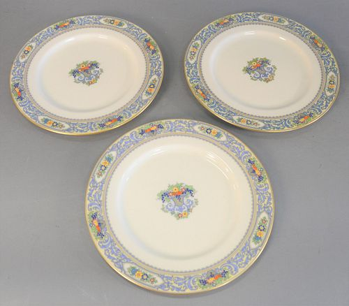 """Set of twelve Lenox plates, """"Autumn"""" pattern, each marked to the underside, dia. 10 1/2"""". Provenance: The Vincent Family Collection, Fairfield, Connec"""