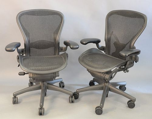 Pair of Herman Miller executive office armchairs on swivel bases, adjustable ht. 38 1/2""