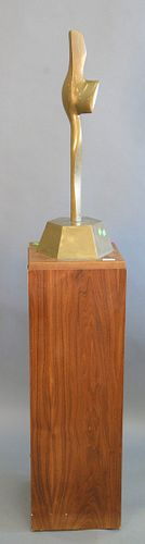 """Alfredo Burlini (Italian, 1910-2006) Defender, 1977, Mid-century bronze, signed and dated '3/10' on wooden pedestal, ht. 27"""" on a 37"""" wooden base. Pro"""