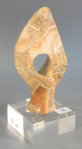 "Attributed to Leonardo Nierman (Mexican/American, b. 1932), Mid-century onyx sculpture on lucite base, unsigned, ht. 12""."