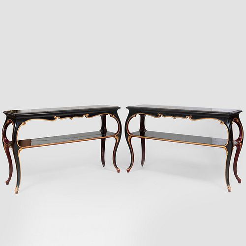Pair of Louis XV Style Ebonized and Parcel-Gilt Two Tier Console Tables