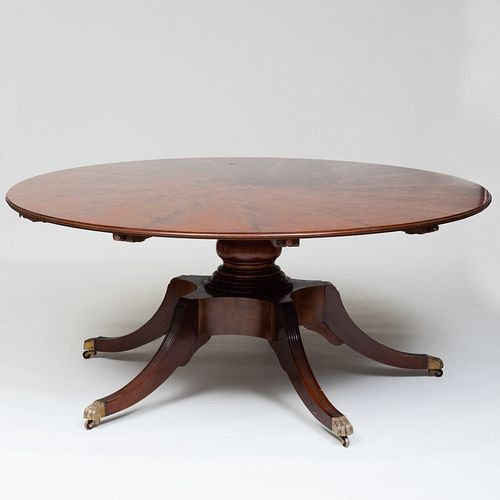 Large Victorian Style Inlaid Mahogany Circular Extension Dining Table, of Recent Manufacture