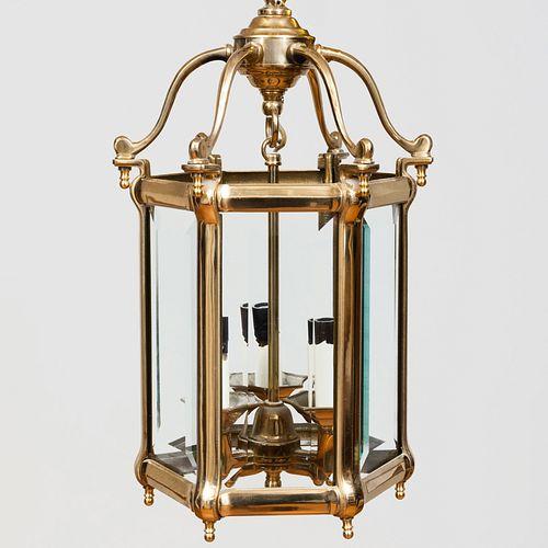 Pair of Regency Style Brass and Glass Hexagonal Hanging Three-Light Lanterns