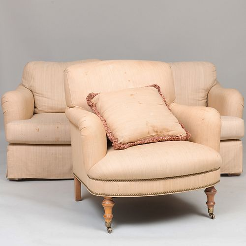 Group of Three Linen Upholstered Club Chairs