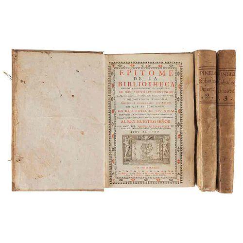 León Pinelo, Antonio. Epítome de la Biblioteca Oriental, y Occidental, Náutica, y Geográfica. Madrid,1737-38. Tomos I-III. 2a ed. Pz:3.
