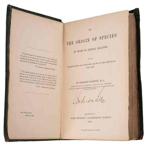 Darwin, Charles. On the Origin of Species. Primera edición / Carta Dirigida al Dr. Ogle y Sobre Firmados por Charles Darwin. Piezas: 3