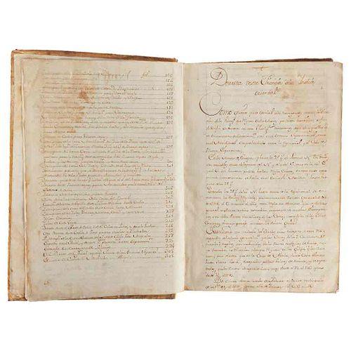 """Anónimo. Derrotero. Manuscrito S. XVIII. """"Como quiera que es esencial a los navegantes conocer la dirección de los vientos. 304 fols"""