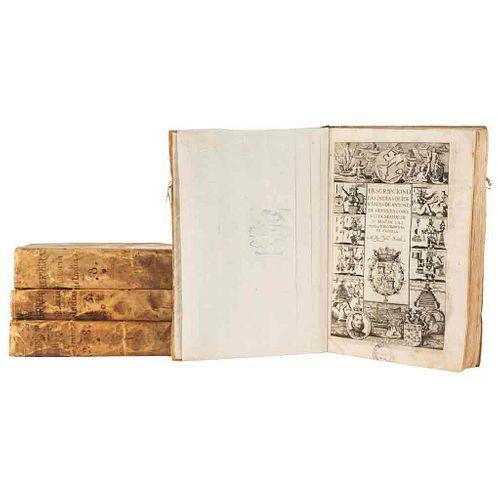 Herrera Tordesillas, Antonio de. Historia General de los...Castellanos en las Islas i Tierra Firme... Madrid, 1726-30. 14 mapas. Pz: 4.