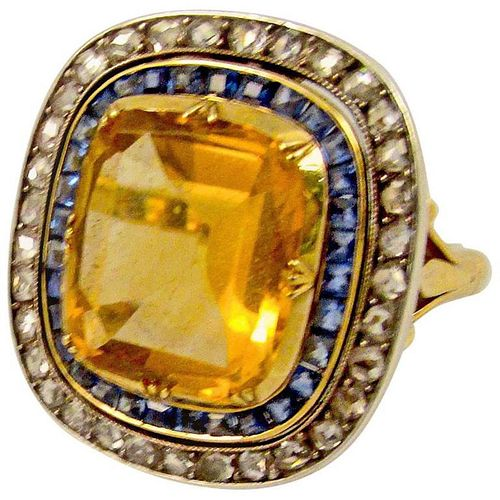 C1900 18K CIT SAPPHIRE RING W/PEARL NECKLACE