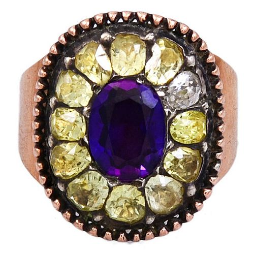 C1780 Antique Portuguese Amethyst and Chrysoberyl Ring