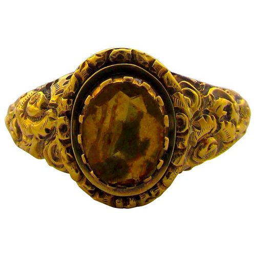 C1830  15 K GOLD CITRINE RING W CHASED REPOUSEE BAND