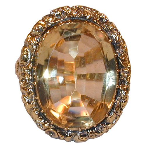 C1820 Magnificent English Regency Citrine Ring in Chased Gold