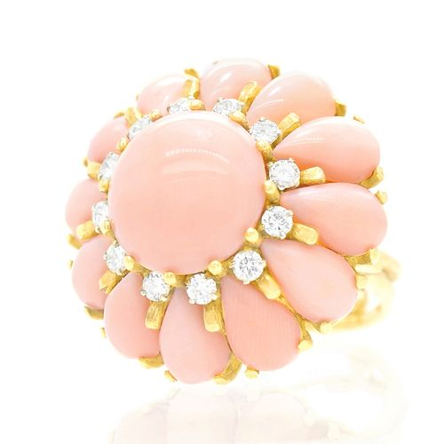 18k Pink Coral and Diamond Ring,  c1950s, Italy