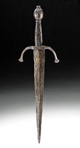 Rare 17th C.European Iron Left Hand Parrying Dagger