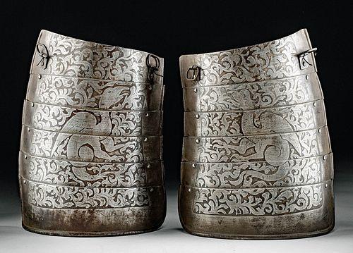 19th. European Victorian Steel Tassets w/ Dragons