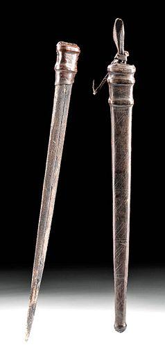 19th C. European Marlin Bill Fid w/ Leather Sheath