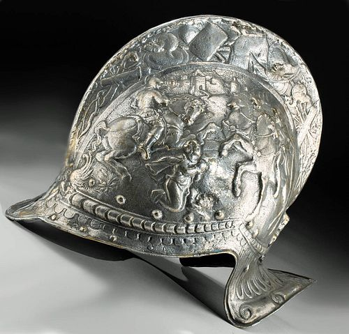 Late 19th C. Spanish Brass Decorative Parade Helmet