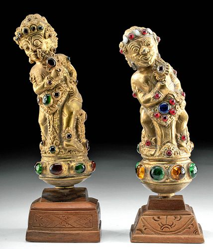 Early 20th C. Indonesian Brass & Glass Kris Handles