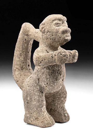 Costa Rican Volcanic Stone Monkey Figure, Ex Sotheby's