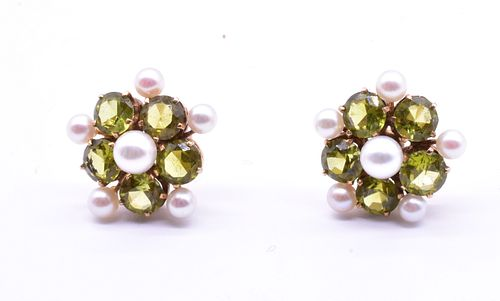 C1940 Peridot & Pearl Earrings