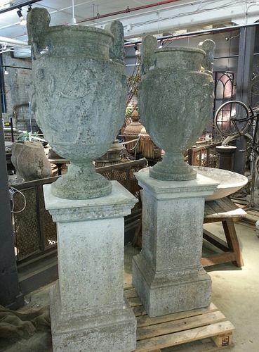 Exceptional Pair of Austin & Seeley Urns on Pedestals