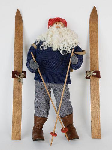 Vintage Handmade Limited-Edition Skiing Santa Claus Christmas Figure
